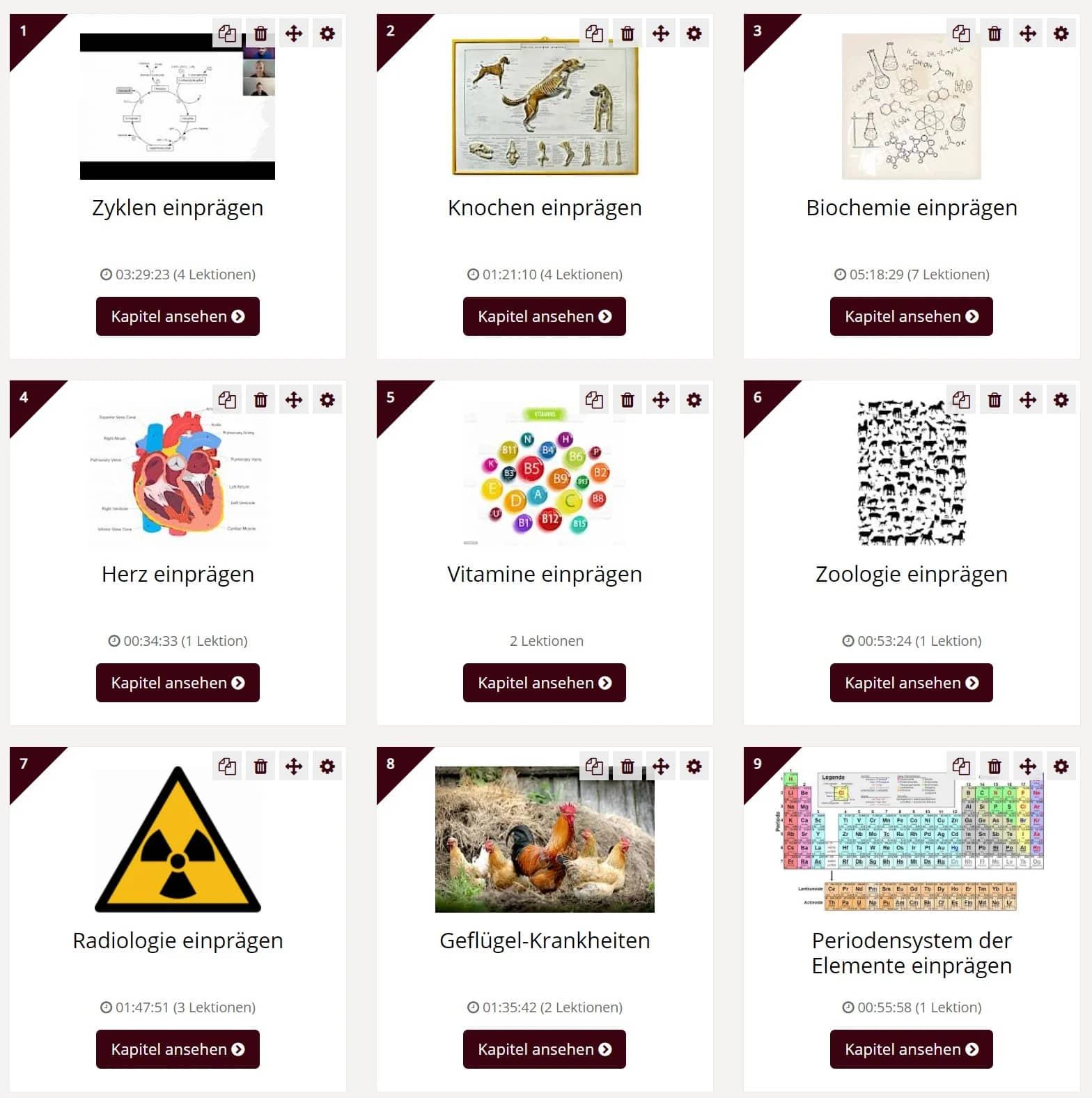 Lektionen des Tiermedizin Onlinekurses